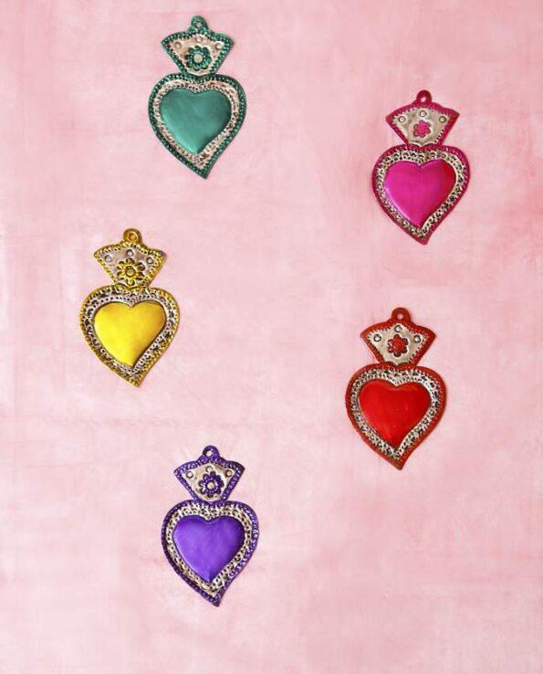Coeur ex-voto 14cm patine une couleur (modèles assortis)
