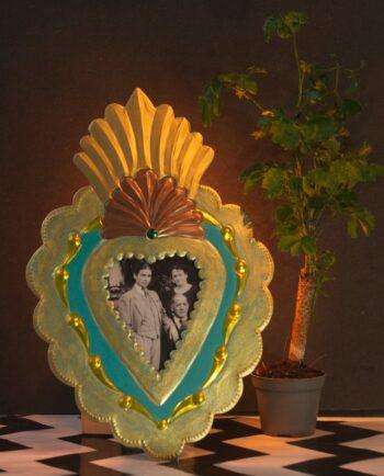Cadre coeur antigua - vieux turquoise