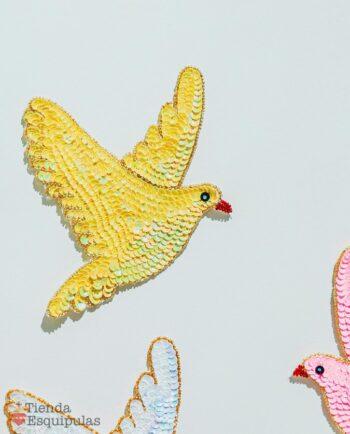Ecusson à coudre colombe - Jaune