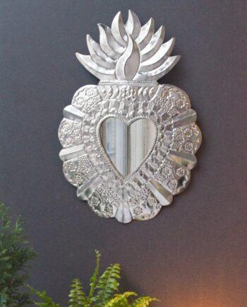 Miroir coeur Alegría - Métal naturel