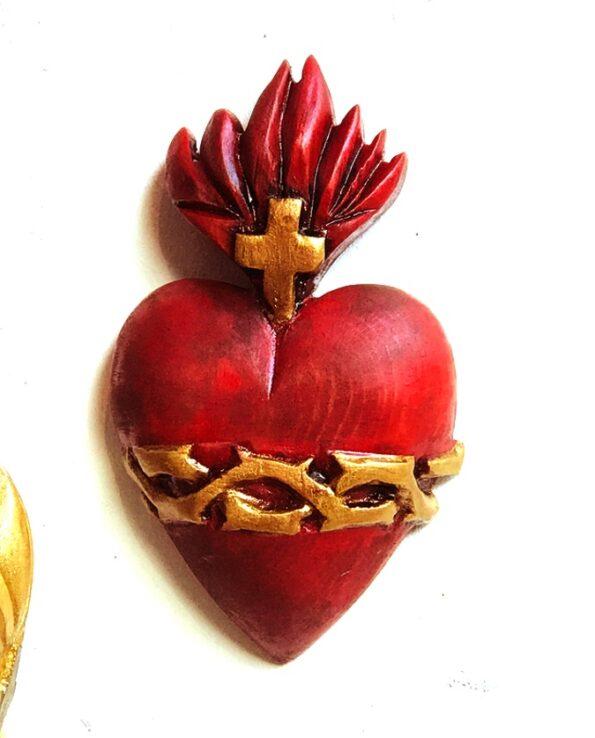 coeur sacré couroné rouge
