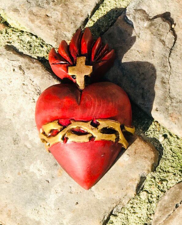 coeur sacré couroné rouge 3