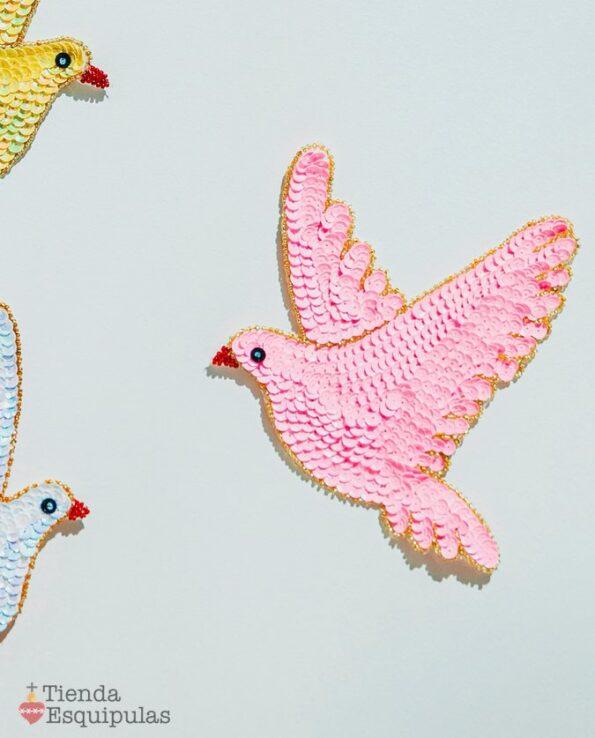 Ecusson à coudre colombe - rose