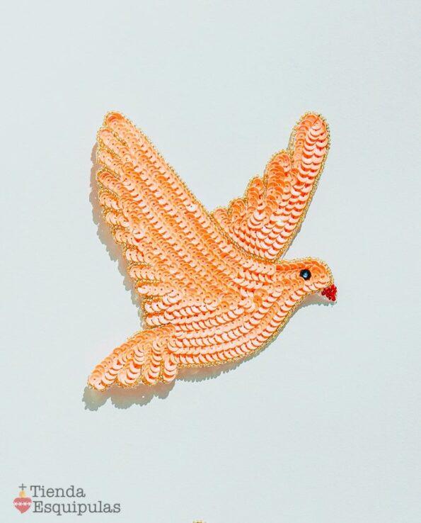 Ecusson à coudre colombe - Saumon