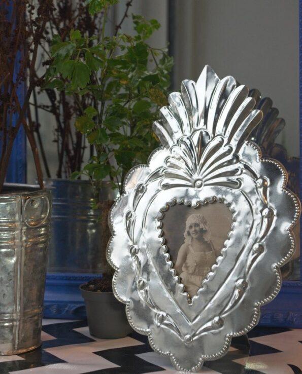 Cadre coeur antigua - métal naturel