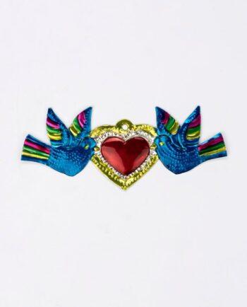 Coeur ex-voto métal repoussé 14 cm deux colombes bleu