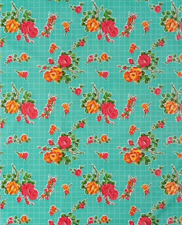 Toile cirée mexicaine rosedal turquoise