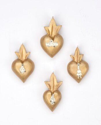 Mini coeur bois serti de un milagro - patine nacrée or