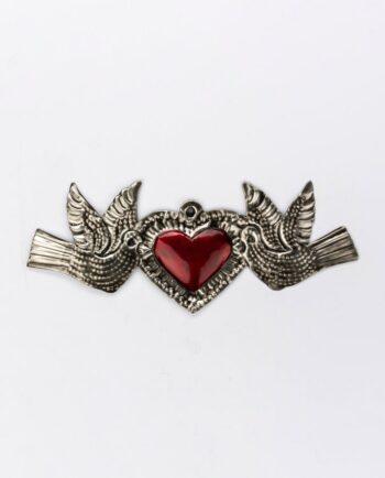 Coeur ex-voto métal repoussé 14 cm deux colombes bichrome