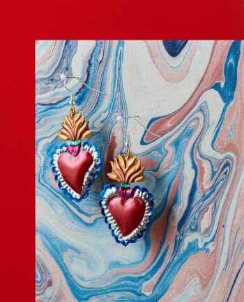 Boucles d'oreilles coeur ex-voto - flama dorada
