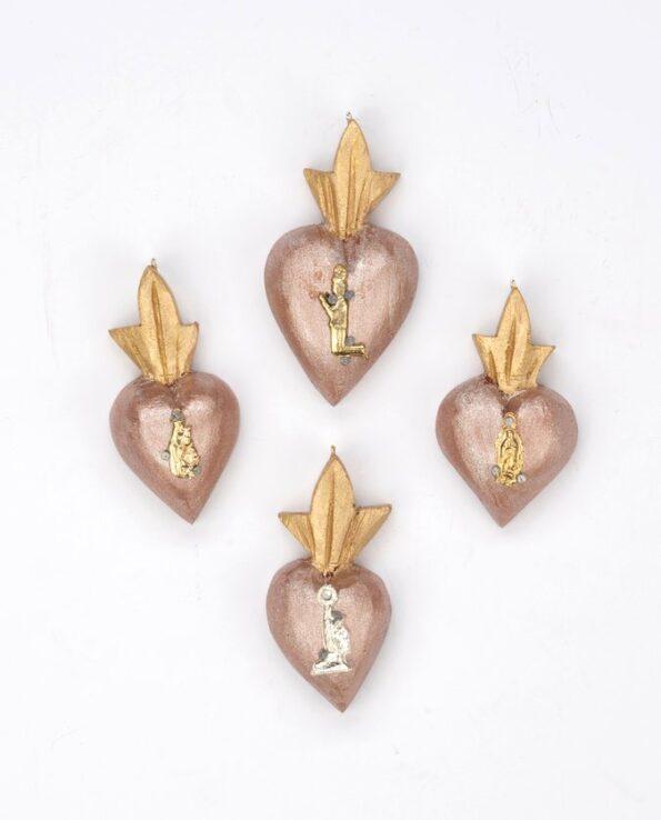 Mini coeur bois serti de un milagro - patine nacrée cuivre