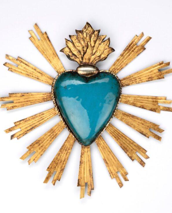 Coeur sacré mexicain vieux turquoise