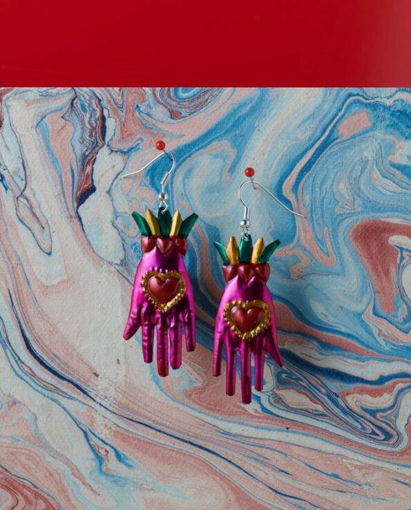 Boucles d'oreilles main coeur couleurs assorties - Rose
