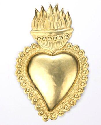 Coeur ex voto laiton flammes ardentes