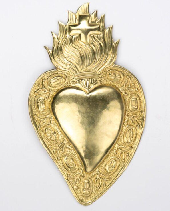 Coeur ex voto laiton couronne de symboles