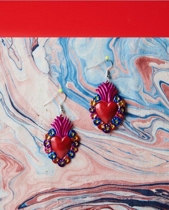 Boucles d'oreilles coeur ex-voto - flores